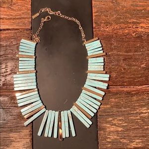 BaubleBar Statement Necklace Gold & Turquoise